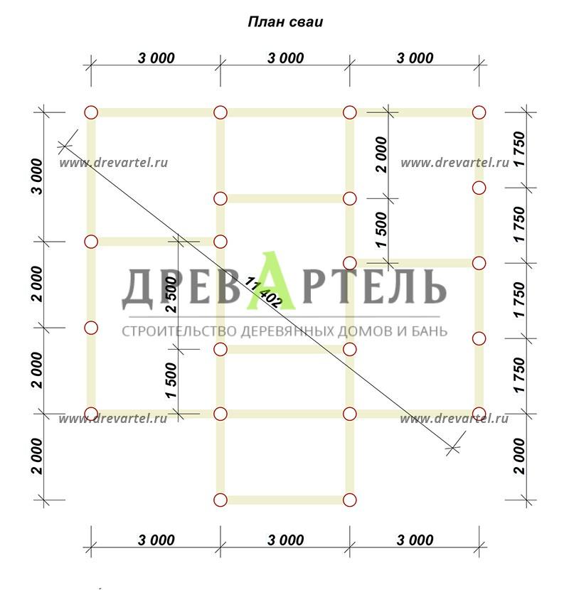 План свайного фундамента - Дом из бруса 7х9 с отличной планировкой