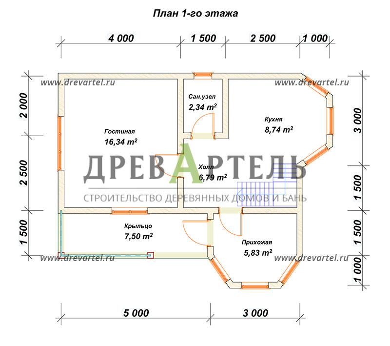 План 1-го этажа - Дом из бруса 7х9 с двумя эркерами