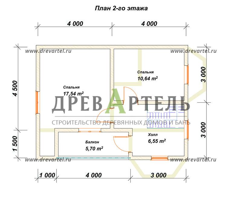 План 2-го этажа - Дом из бруса 7х9 с двумя эркерами