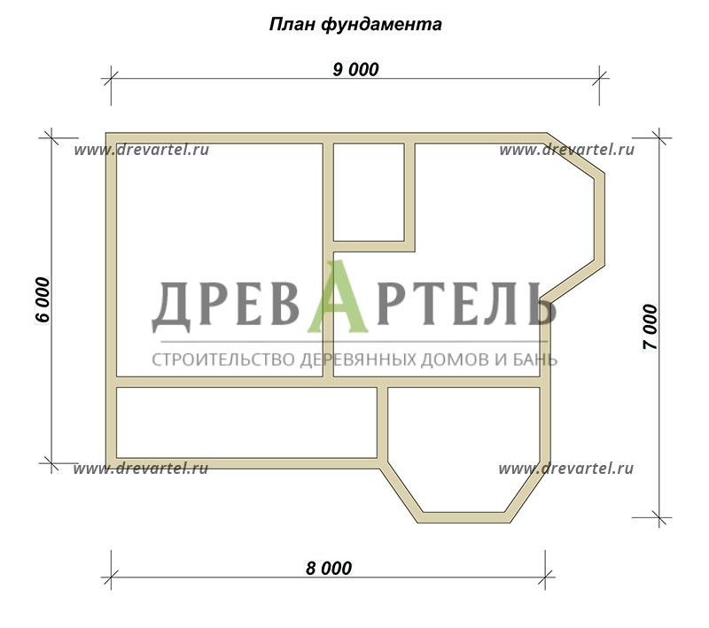 План ленточного фундамента - Дом из бруса 7х9 с двумя эркерами