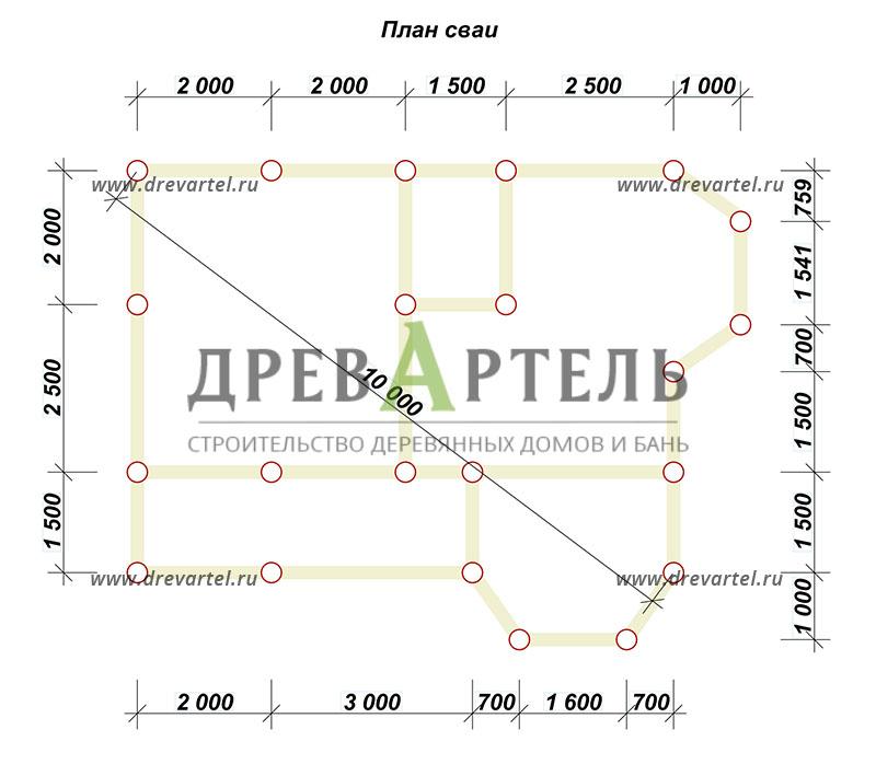 План свайного фундамента - Дом из бруса 7х9 с двумя эркерами