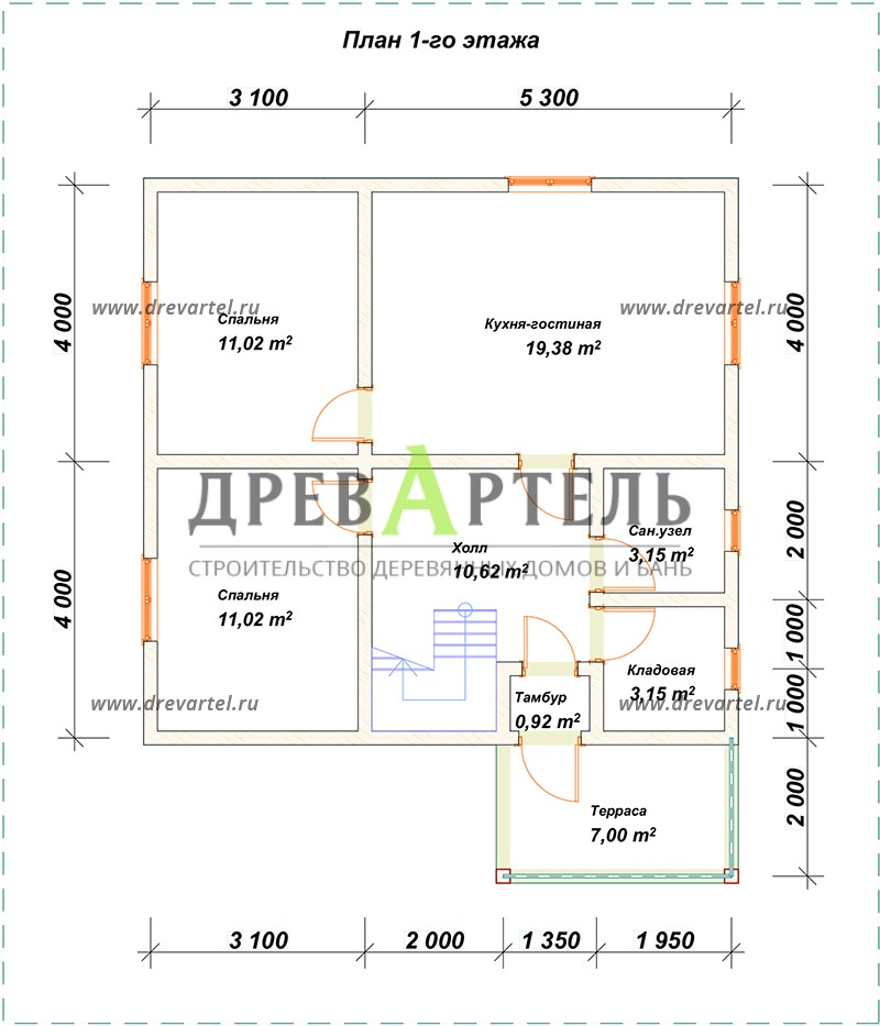 План 1-го этажа - Деревянный дом 8х8 из бруса с мансардой