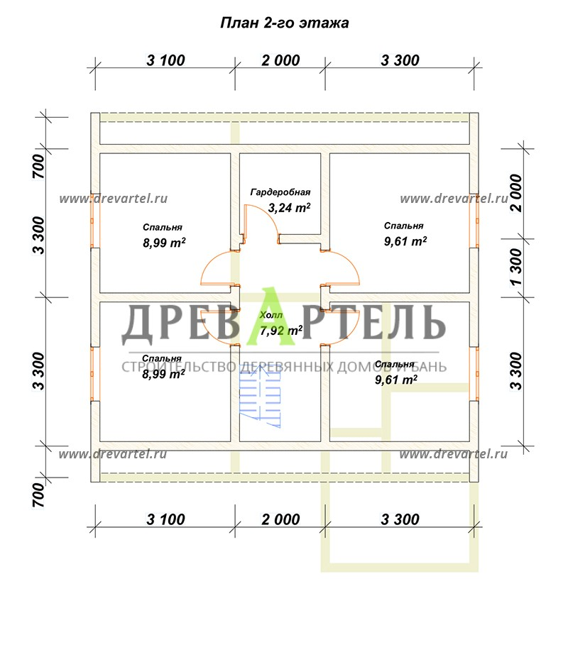 План 2-го этажа - Деревянный дом 8х8 из бруса с мансардой