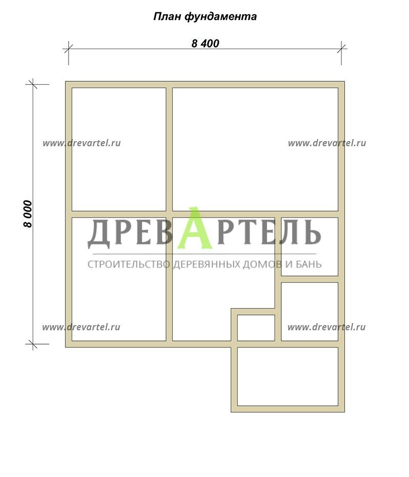 План ленточного фундамента - Деревянный дом 8х8 из бруса с мансардой