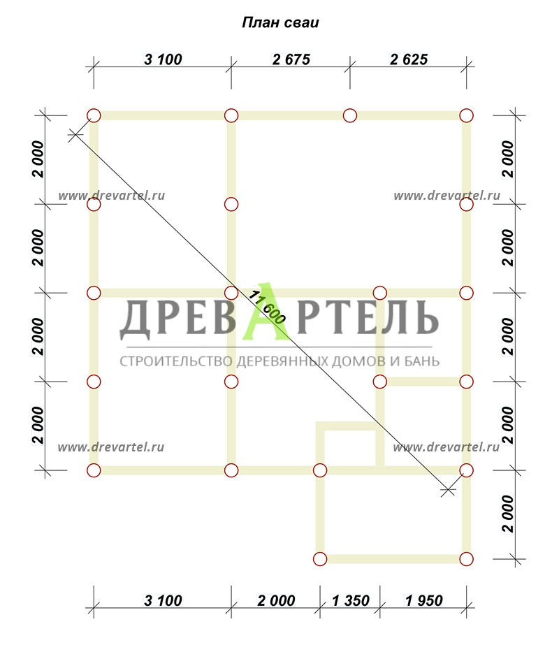 План свайного фундамента - Деревянный дом 8х8 из бруса с мансардой