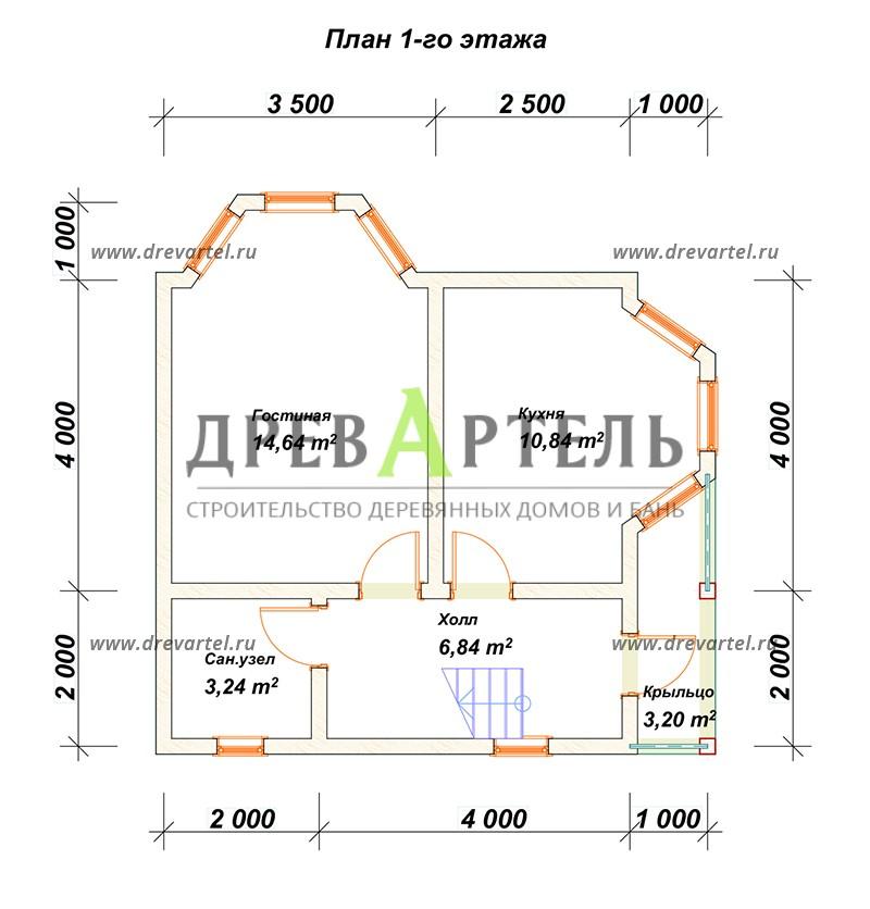 План 1-го этажа - Дом из бруса 7х7 с эркером