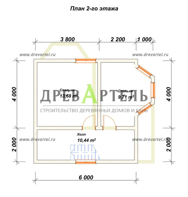 План 2-го этажа - Дом из бруса 7х7 с эркером