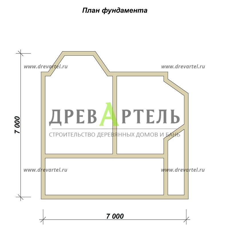 План ленточного фундамента - Дом из бруса 7х7 с эркером