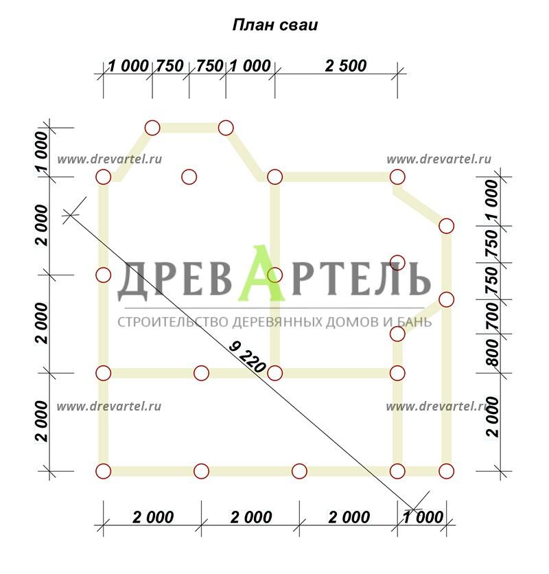План свайного фундамента - Дом из бруса 7х7 с эркером