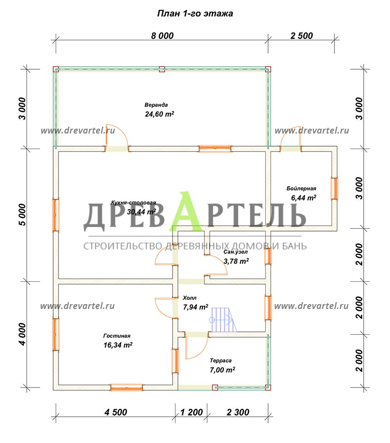 План 1-го этажа - Дом из бруса 8х9 с верандой