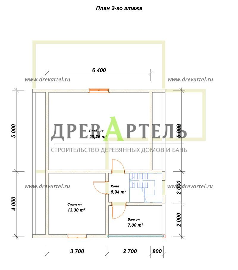 План 2-го этажа - Дом из бруса 8х9 с верандой