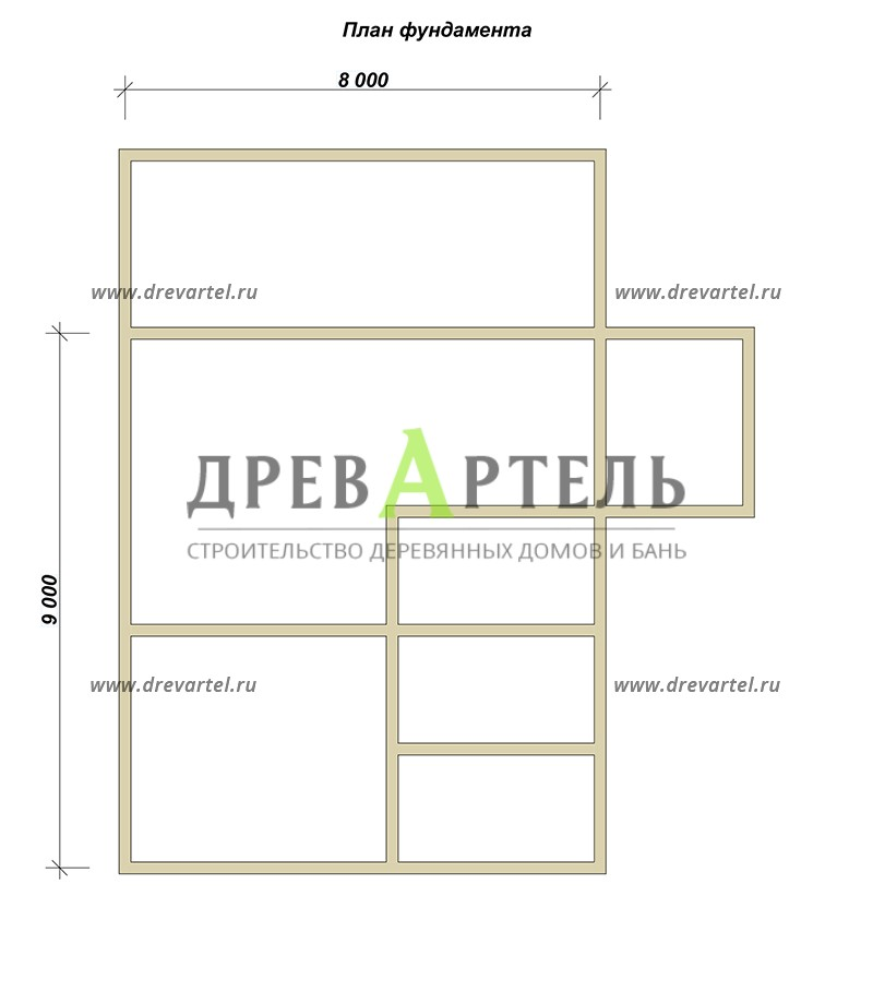 План ленточного фундамента - Дом из бруса 8х9 с верандой