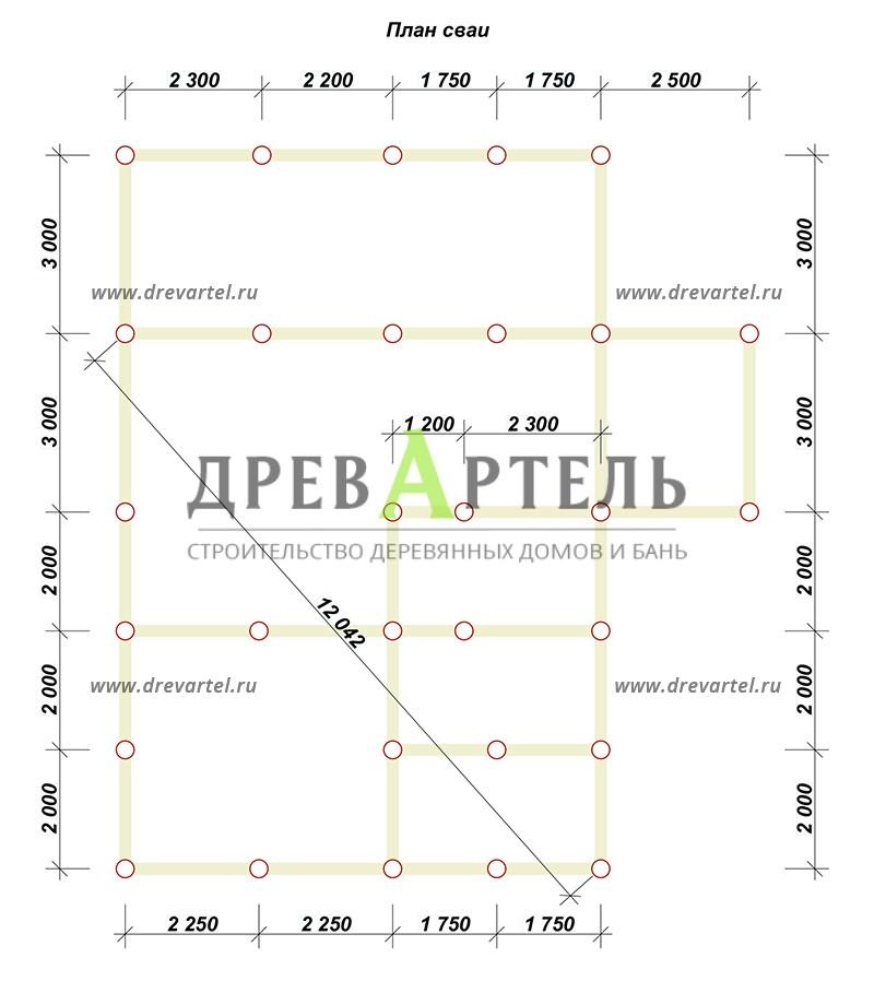 План свайного фундамента - Дом из бруса 8х9 с верандой