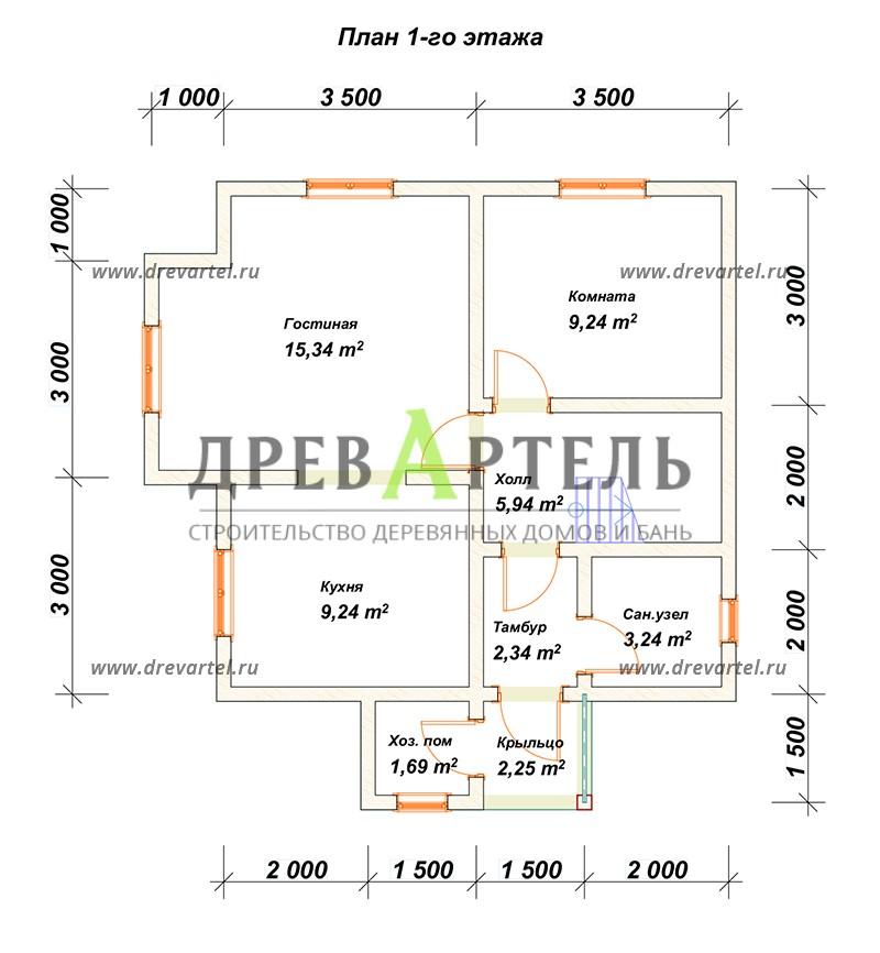 План 1-го этажа - Дом из бруса 7х7 с мансардой и эркером