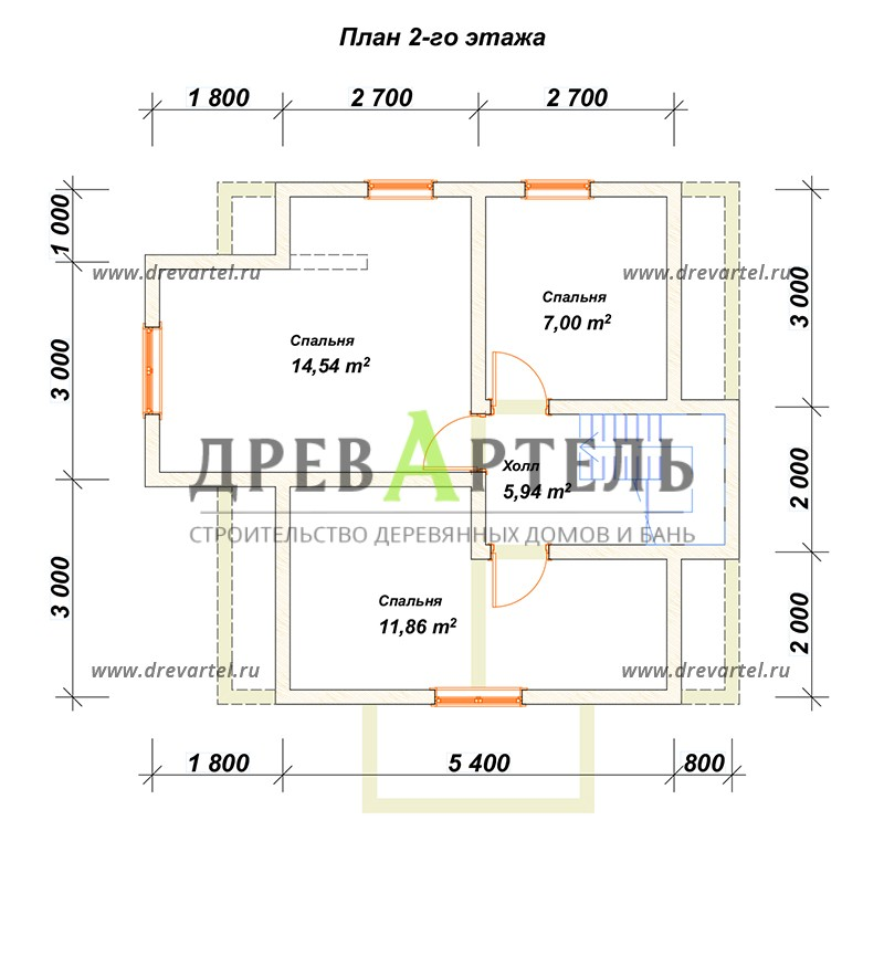 План 2-го этажа - Дом из бруса 7х7 с мансардой и эркером