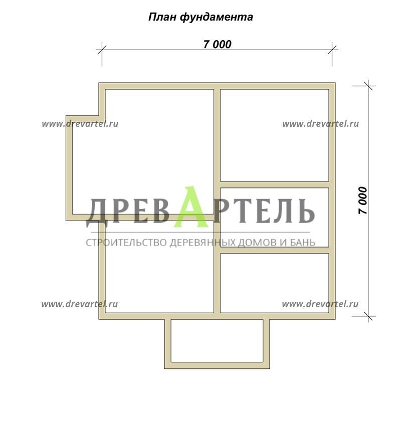 План ленточного фундамента - Дом из бруса 7х7 с мансардой и эркером