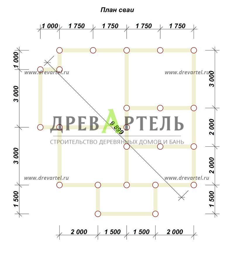 План свайного фундамента - Дом из бруса 7х7 с мансардой и эркером