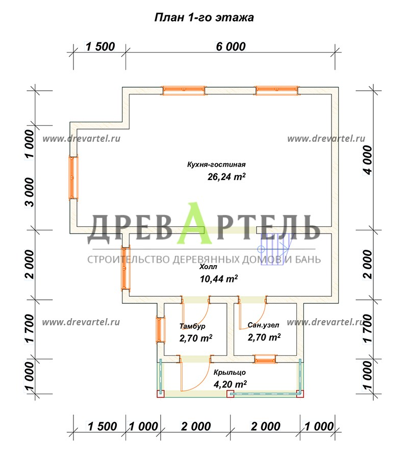 План 1-го этажа - Дачный дом из профилированного бруса 6х6