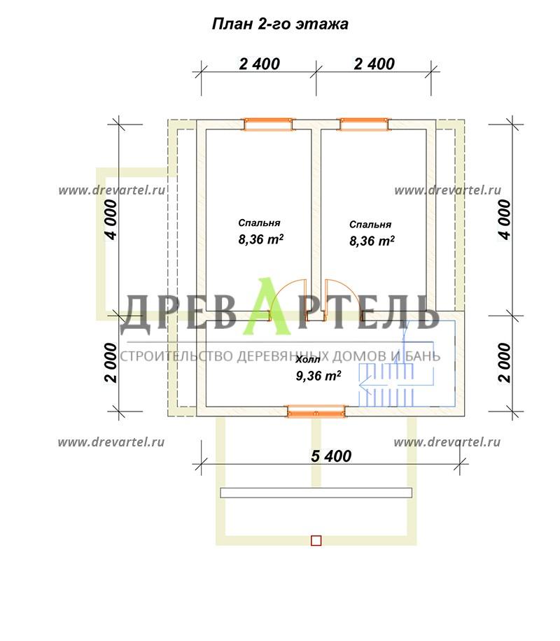 План 2-го этажа - Дачный дом из профилированного бруса 6х6