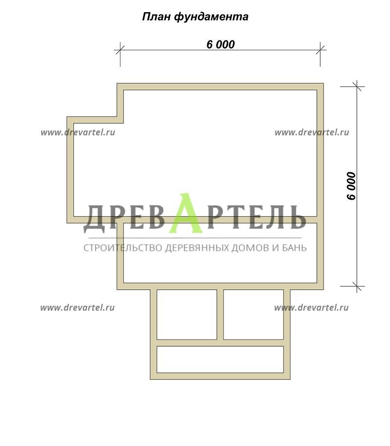 План ленточного фундамента - Дачный дом из профилированного бруса 6х6