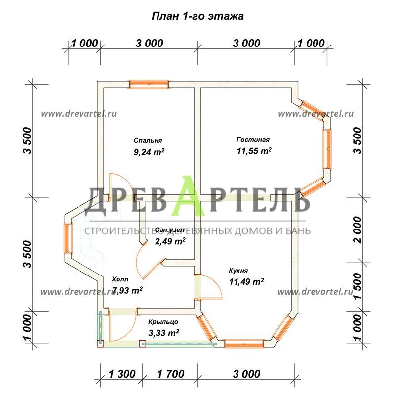 План 1-го этажа - Дом из бруса 6х7 с балконом
