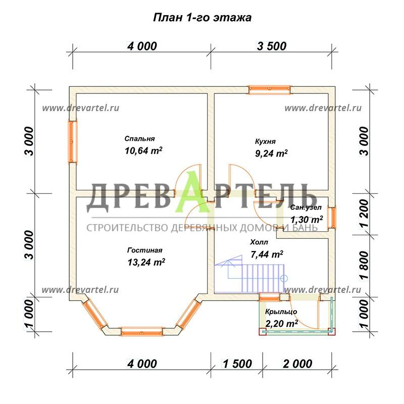 План 1-го этажа - Дом из профилированного бруса 7х7