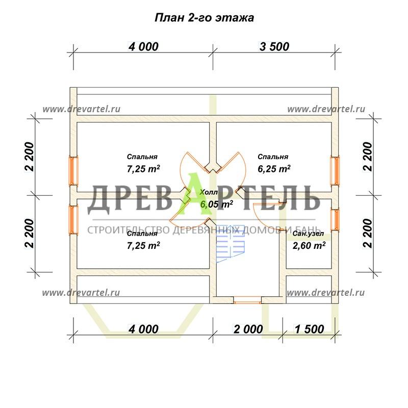 План 2-го этажа - Дом из профилированного бруса 7х7