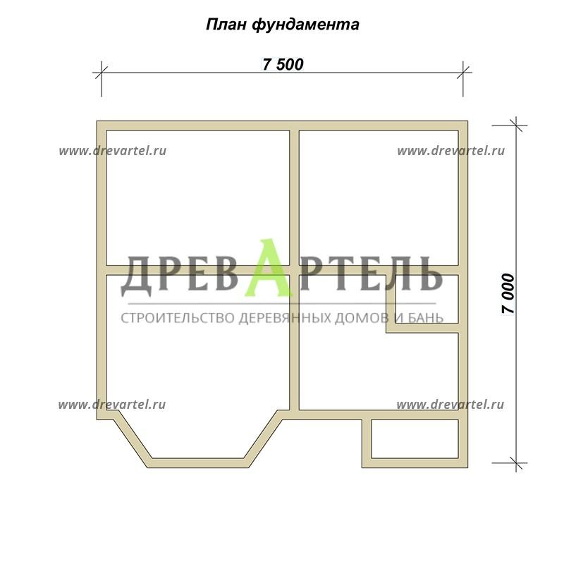 План ленточного фундамента - Дом из профилированного бруса 7х7