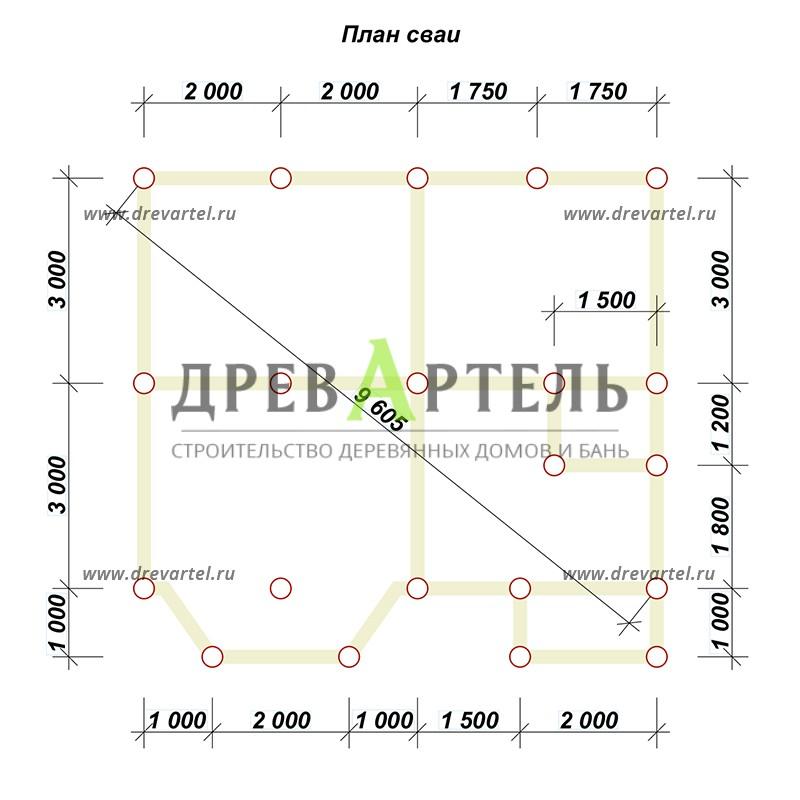 План свайного фундамента - Дом из профилированного бруса 7х7