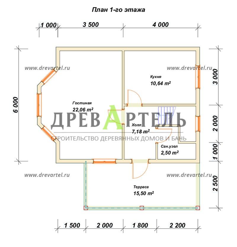 План 1-го этажа - Дом 6х7 с мансардой и террасой
