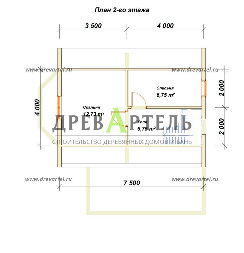 План 2-го этажа - Дом 6х7 с мансардой и террасой