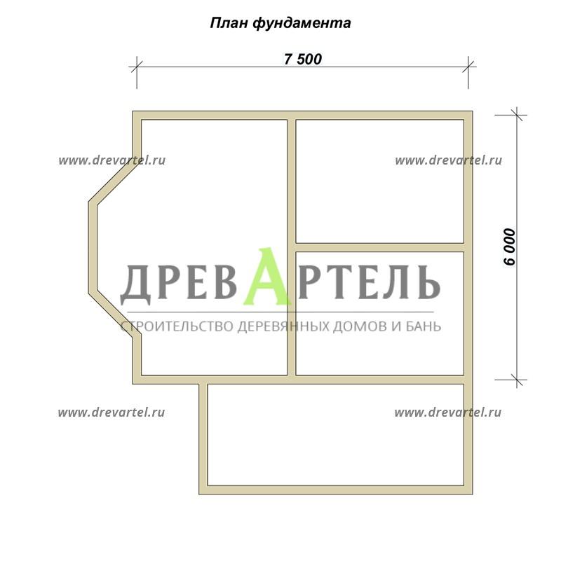 План ленточного фундамента - Дом 6х7 с мансардой и террасой