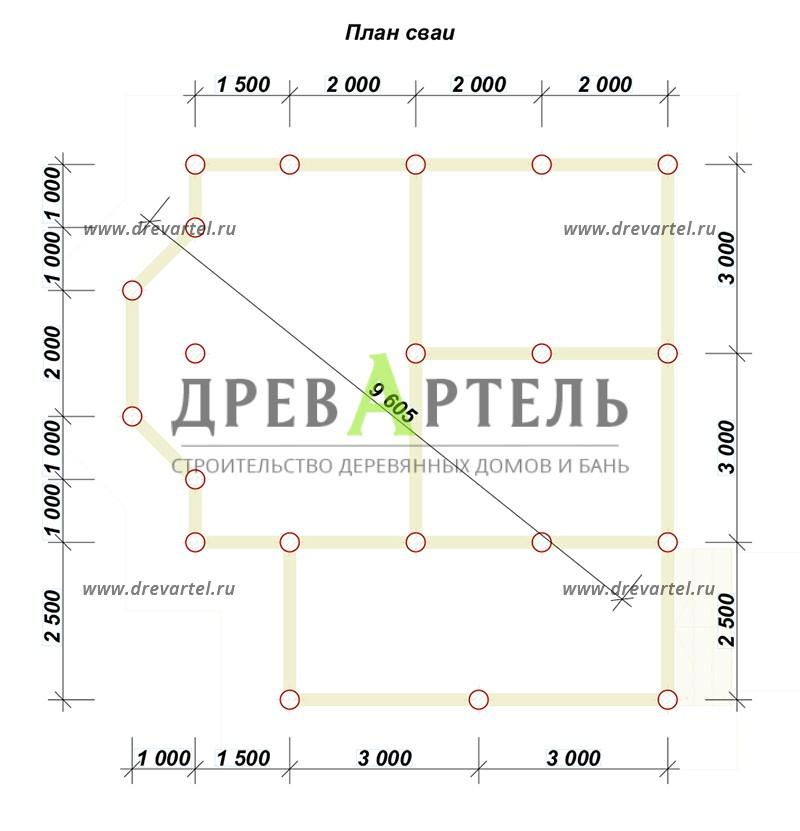 План свайного фундамента - Дом 6х7 с мансардой и террасой