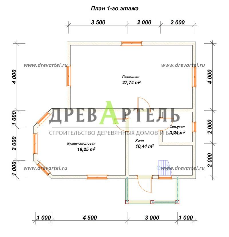 План 1-го этажа - Дом из бруса 8х9 с мансардой и эркером