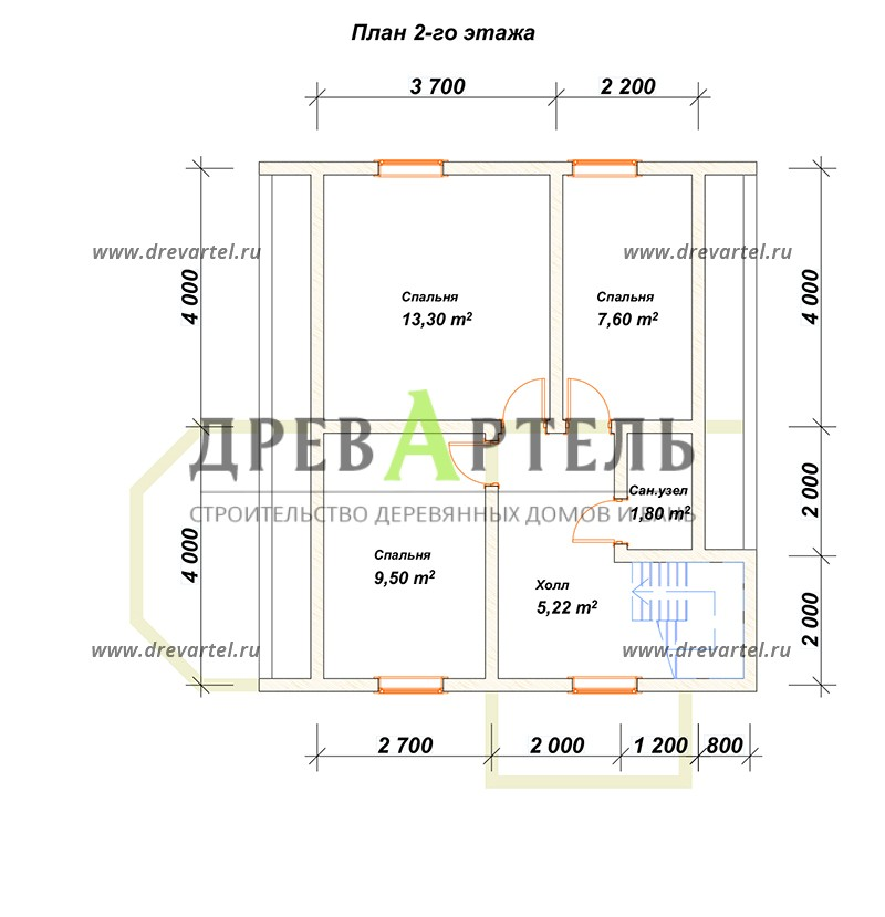 План 2-го этажа - Дом из бруса 8х9 с мансардой и эркером