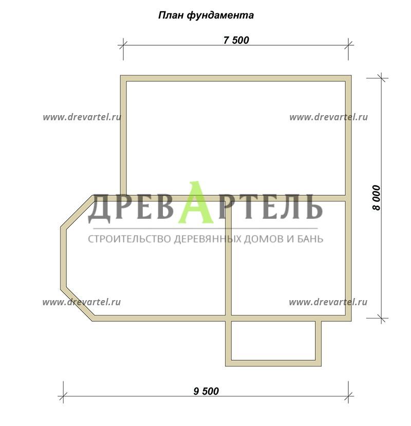 План ленточного фундамента - Дом из бруса 8х9 с мансардой и эркером