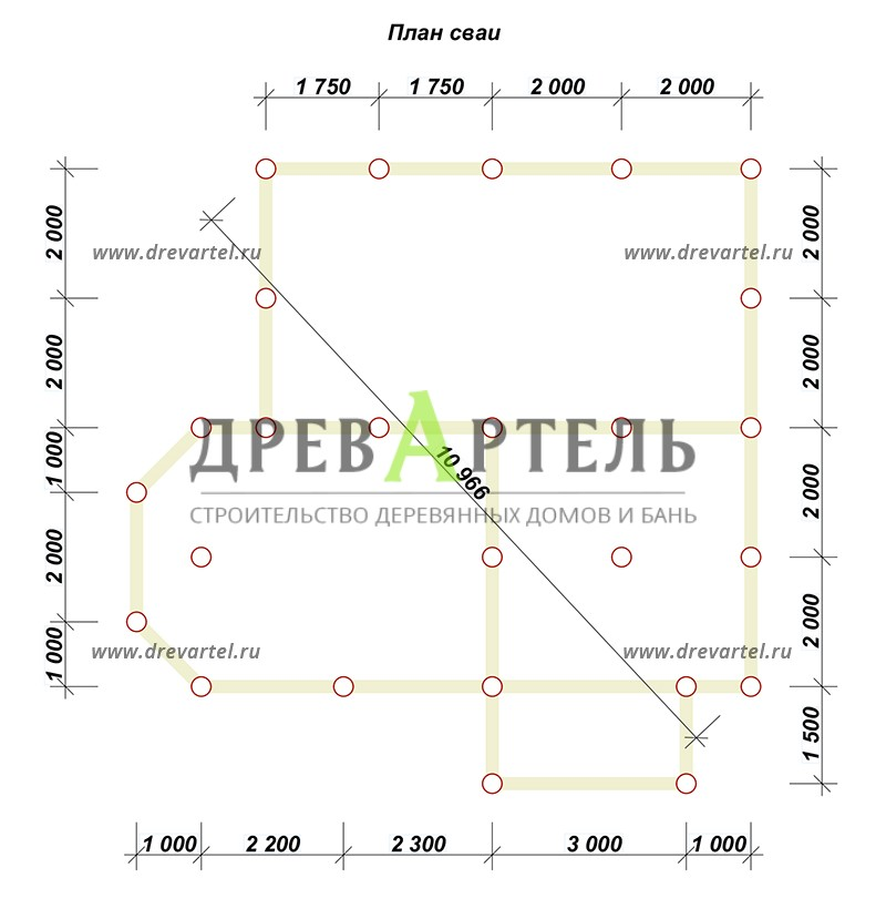 План свайного фундамента - Дом из бруса 8х9 с мансардой и эркером