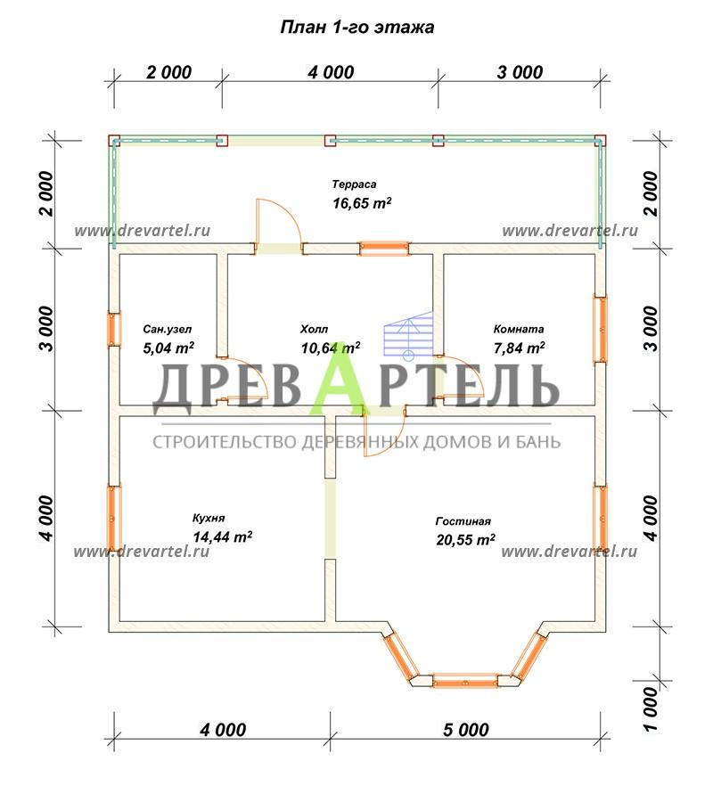 План 1-го этажа - Загородный дом из бруса 8х9