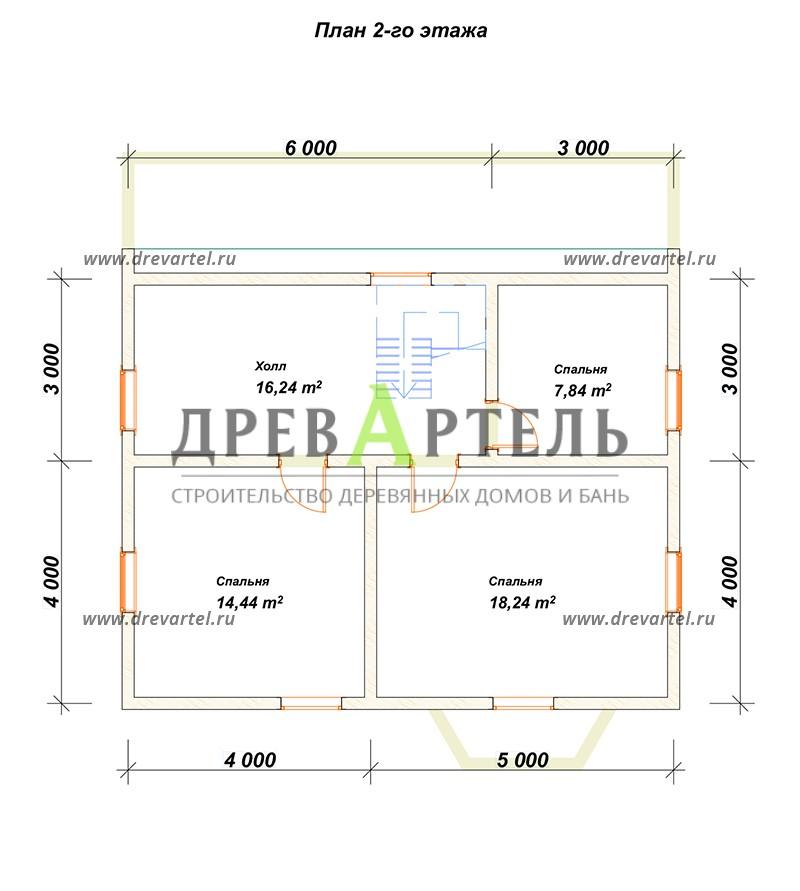 План 2-го этажа - Загородный дом из бруса 8х9