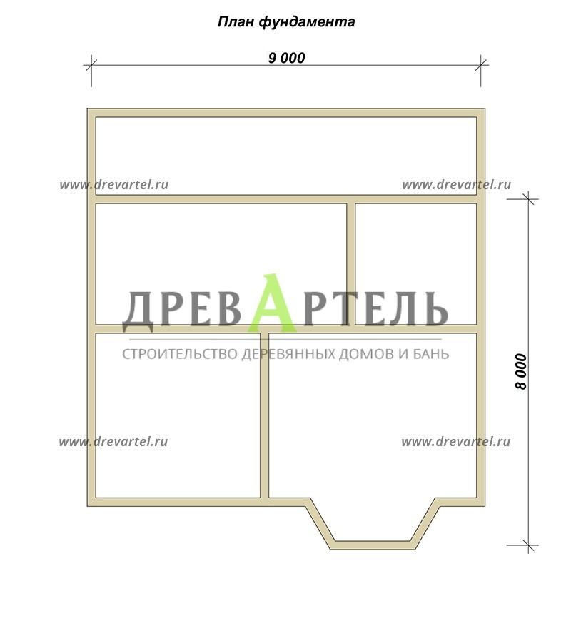 План ленточного фундамента - Загородный дом из бруса 8х9