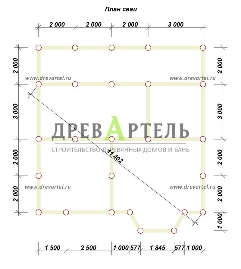 План свайного фундамента - Загородный дом из бруса 8х9