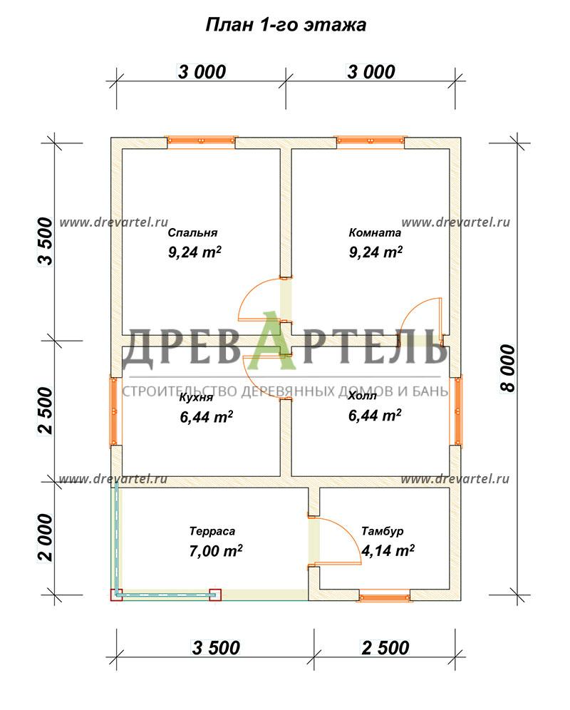 План 1-го этажа - Одноэтажный дом из бруса 6х8
