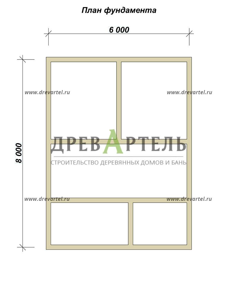 План ленточного фундамента - Одноэтажный дом из бруса 6х8