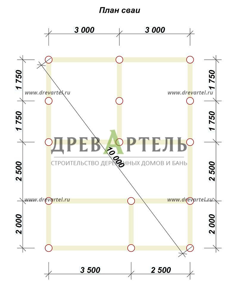 План свайного фундамента - Одноэтажный дом из бруса 6х8