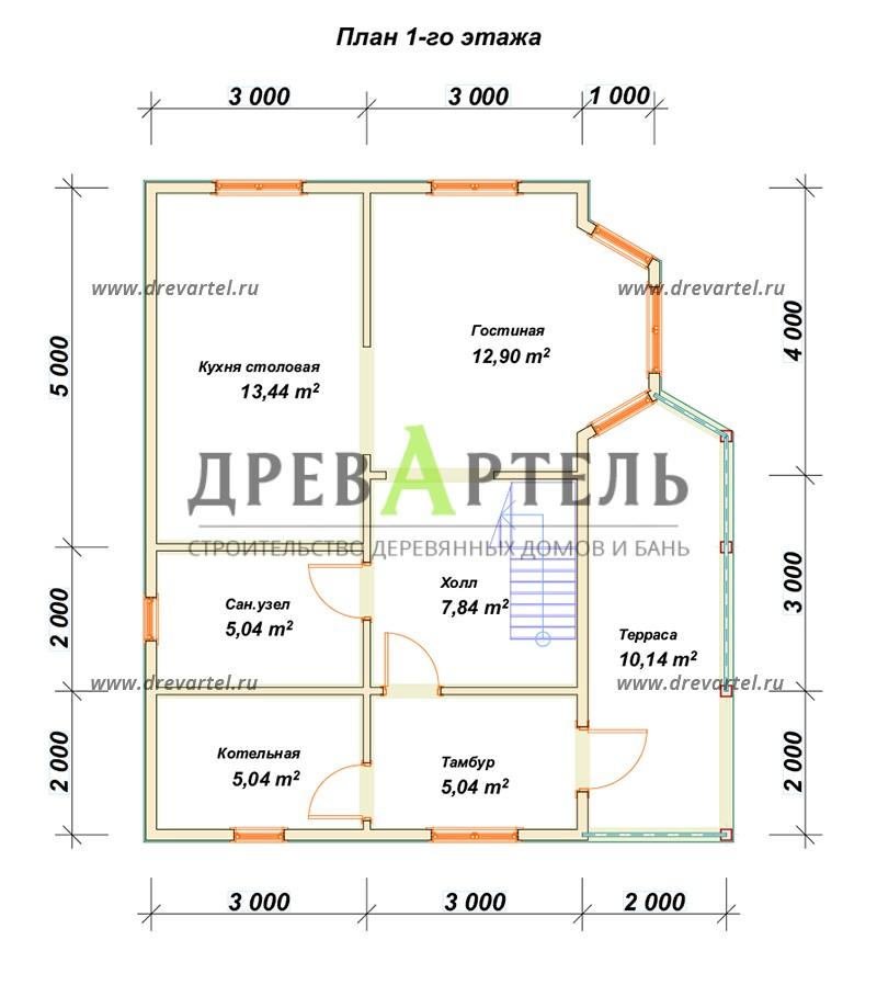 План 1-го этажа - Дом из бруса 6х9 с мансардой и террасой