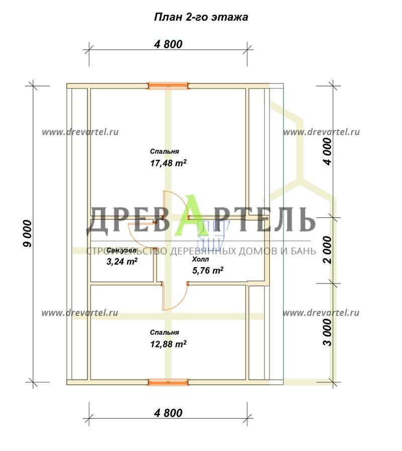 План 2-го этажа - Дом из бруса 6х9 с мансардой и террасой