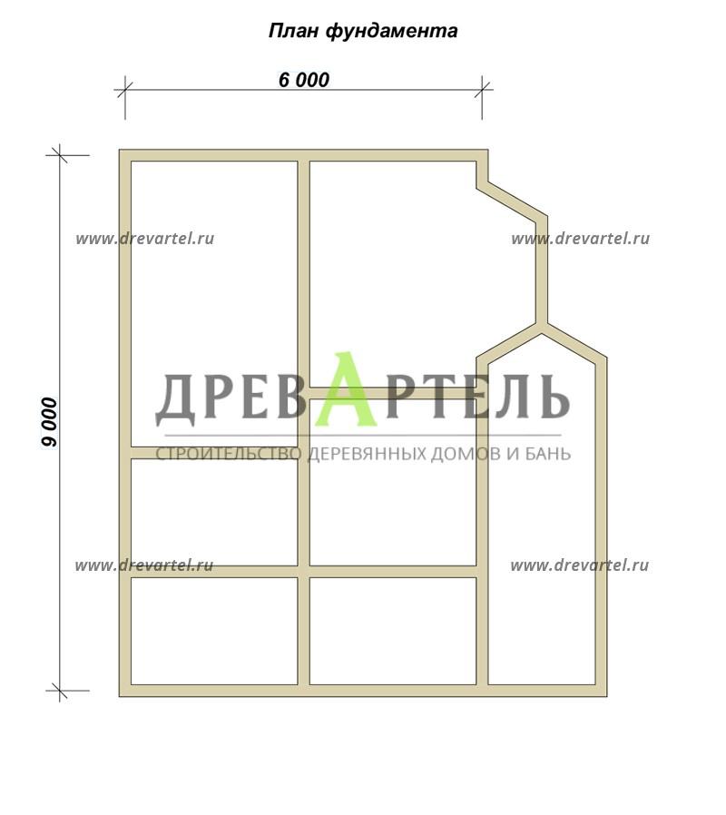 План ленточного фундамента - Дом из бруса 6х9 с мансардой и террасой