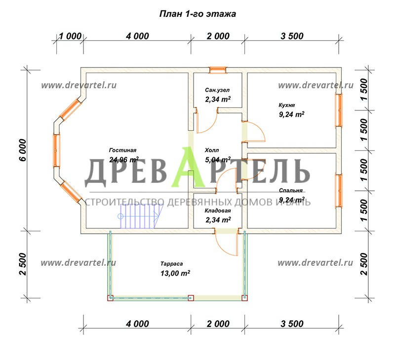 План 1-го этажа - Дом из бруса 6х9 с ломаной крышей