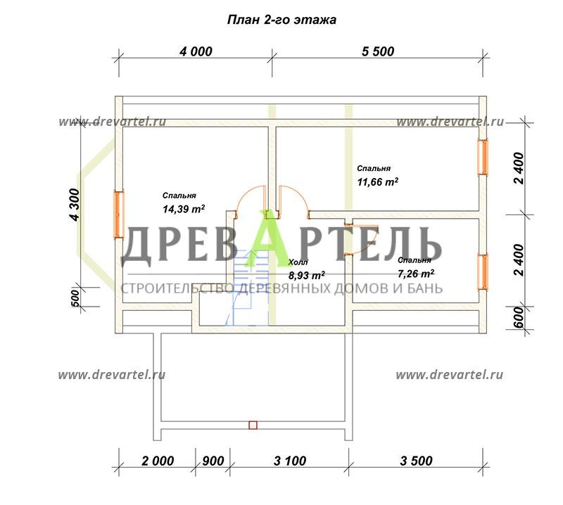 План 2-го этажа - Дом из бруса 6х9 с ломаной крышей