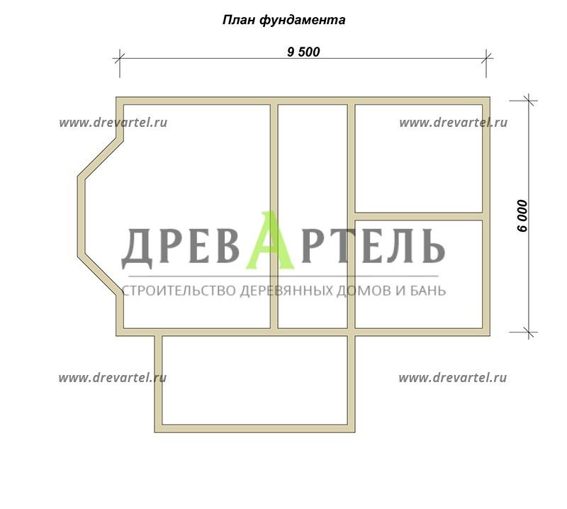 План ленточного фундамента - Дом из бруса 6х9 с ломаной крышей